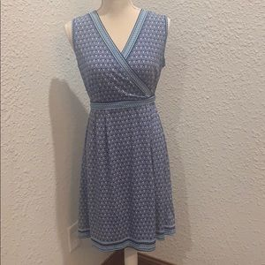 A-Line Calf Length Blue Sleeveless Dress